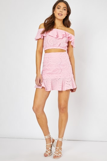 pink frill hem detail co-ord mini skirt