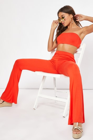orange basic flared co-ord trousers