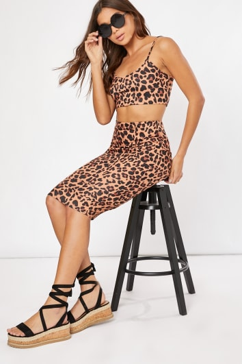 BAYOU BROWN LEOPARD PRINT CO-ORD MIDI SKIRT