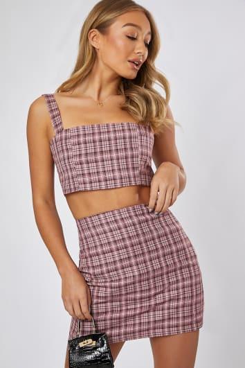 pink check co-ord mini skirt