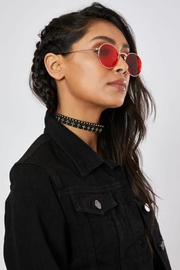STUDDED FAUX SUEDE CHOKER