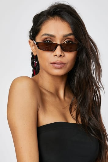 BROWN TORTOISESHELL SLIM CAT EYE SUNGLASSES