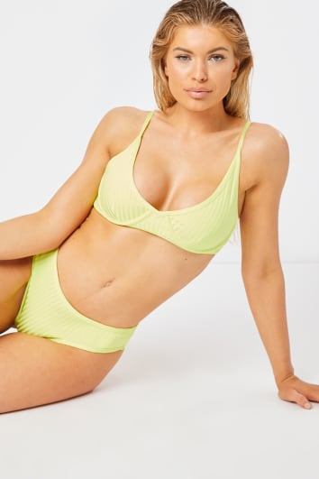 lime underwired bandage bikini top