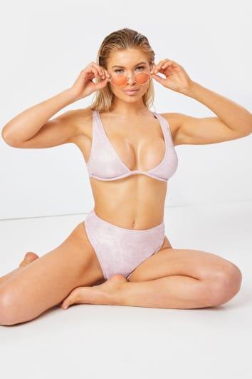 pink glitter underwired bikini top
