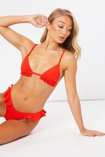 red textured frill bikini set
