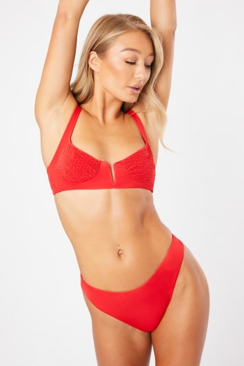 red shirred underwired bikini set