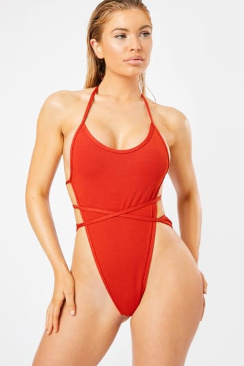 rust multi strap cut out ribbed swimsuit