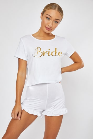 BRIDE SLOGAN WHITE PJ SHORTS AND TSHIRT SET