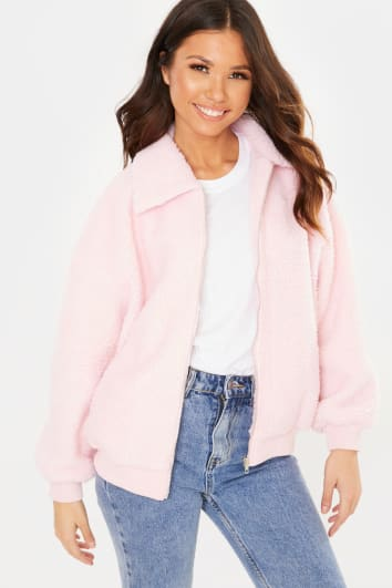 PINK TEDDY BORG JACKET