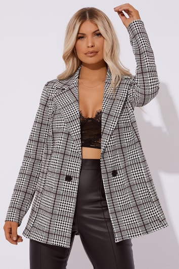 monochrome check oversized blazer