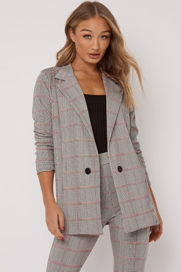 black and pink dogtooth check co ord blazer