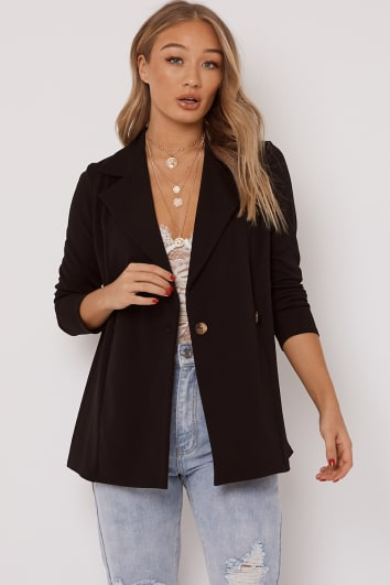 black horn button blazer