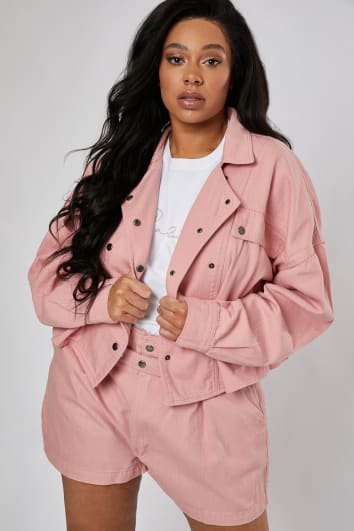 CURVE LUCINA PINK DENIM DOUBLE BREASTED UTILITY JACKET