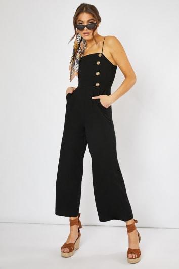 black horn button culotte jumpsuit