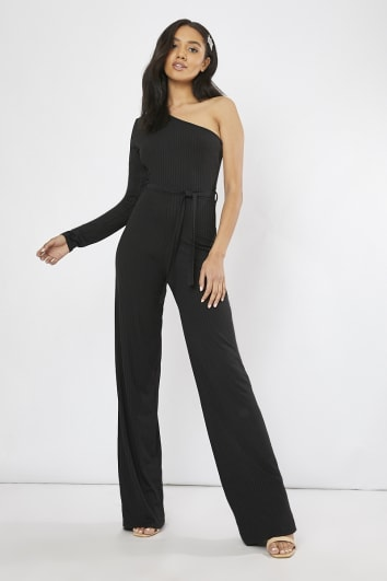 black ribbed one shoulder wide leg jumpsuit