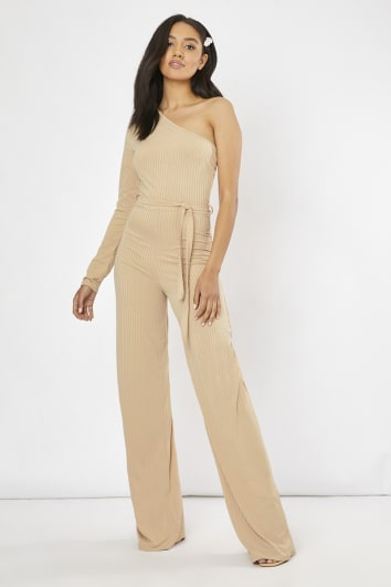 camel ribbed one shoulder wide leg jumpsuit