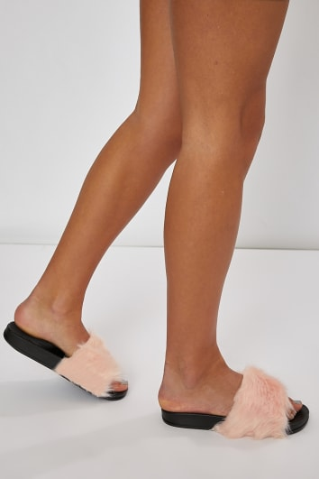 MERTHY PINK FAUX FUR SLIDERS