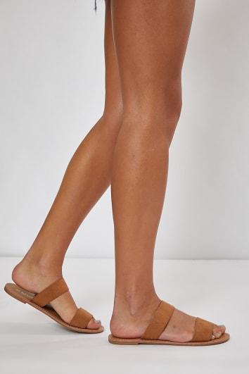 tan two strap slidders
