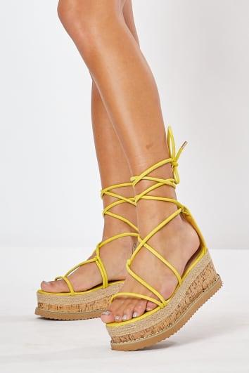yellow skinny multi strap espadrilles