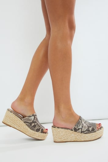 snake faux suede mules