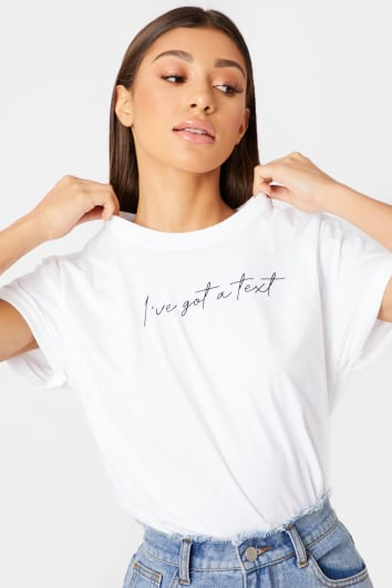 Image result for in the style WHITE I'VE GOT A TEXT SLOGAN T SHIRT