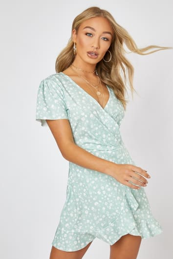 24a125c23b710 BILLIE FAIERS SAGE GREEN DITSY FLORAL WRAP FRONT MINI DRESS
