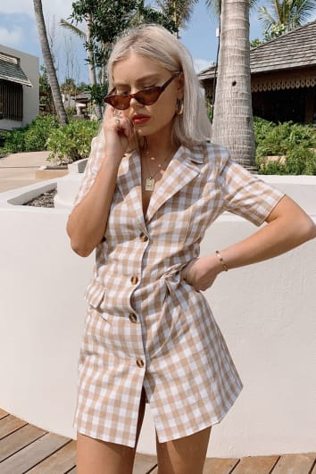 LAURA JADE NUDE GINGHAM SHORT SLEEVE BLAZER DRESS