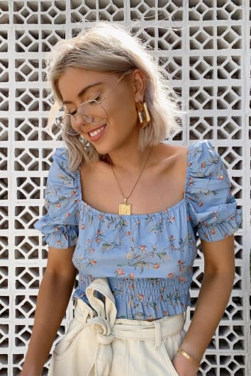 LAURA JADE BLUE FLORAL PUFF SLEEVE SHIRRED TOP