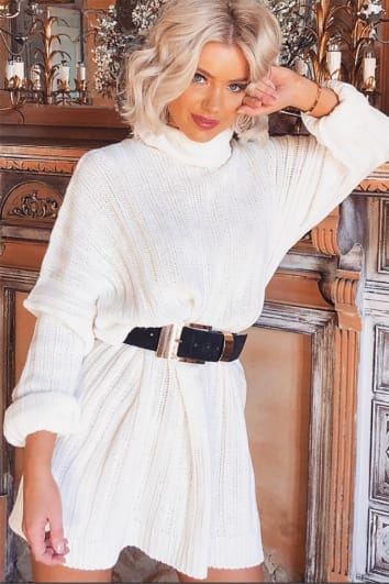 LAURA JADE CREAM OVERSIZED CHUNKY KNITTED JUMPER DRESS WITH SIDE SPLITS