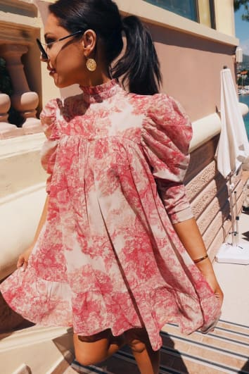 LORNA LUXE 'CORA PEARL IMPOSSIBLY PERFECT' PINK HIGH NECK SWING DRESS