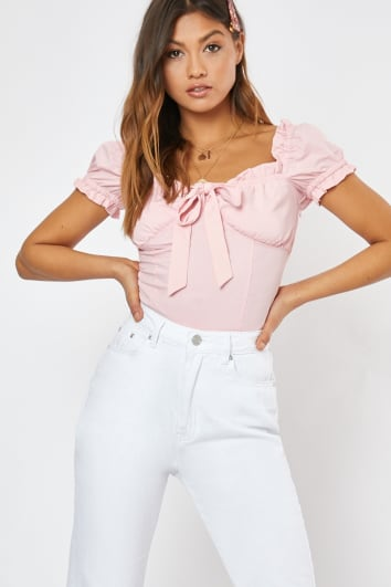 EMERSYN PINK PUFF SLEEVE TIE FRONT CROP TOP