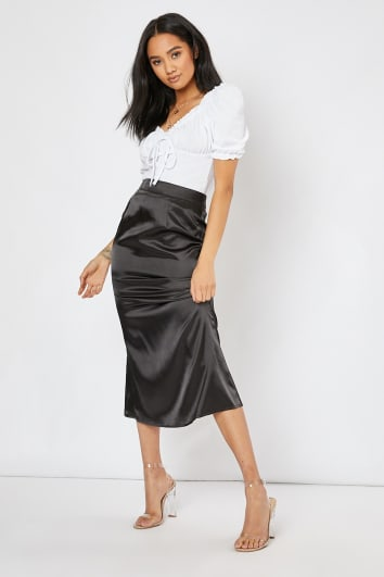 HELORA BLACK SATIN SLIP SKIRT