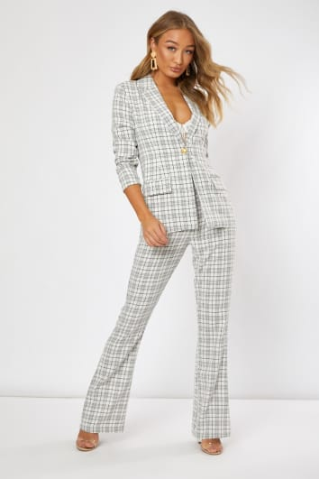 NIRANI CREAM CHECKED HIGH WAISTED FLARE LEG TROUSER