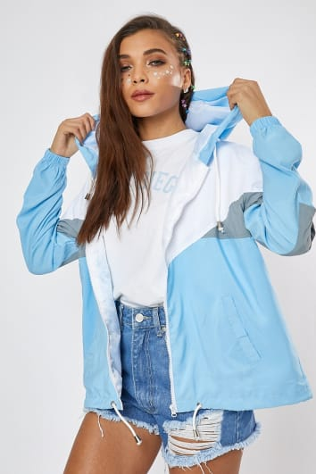 TERESAH BABY BLUE COLOUR BLOCK WINDBREAKER