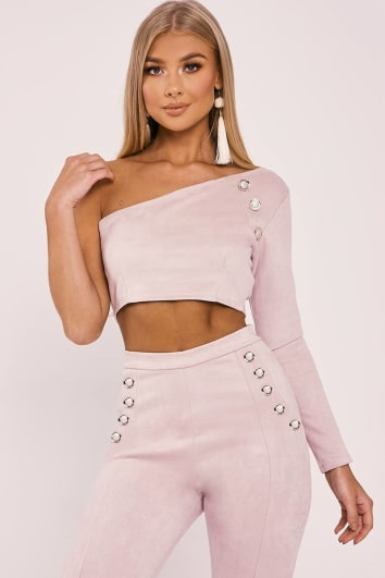 BILLIE FAIERS NUDE FAUX SUEDE ONE SLEEVE GOLD BUTTON CROP TOP