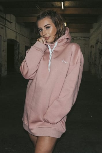 DANI DYER BABE BLUSH EMBROIDERED OVERSIZED HOODIE DRESS