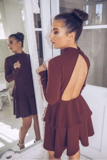 DANI DYER BROWN CREPE DOUBLE FRILL OPEN BACK SKATER MINI DRESS