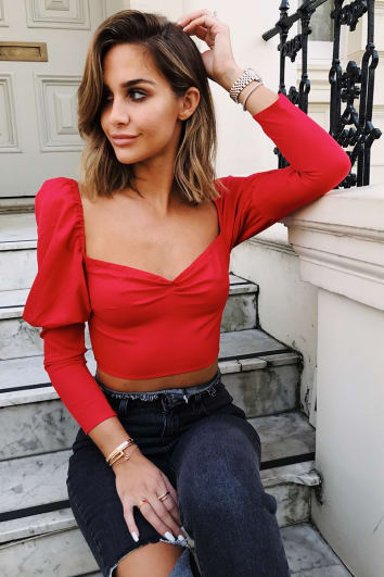EMILY SHAK RED PUFF SLEEVE CROP TOP