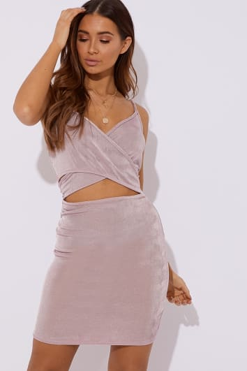 SINDRI MAUVE SLINKY CUT OUT MINI DRESS