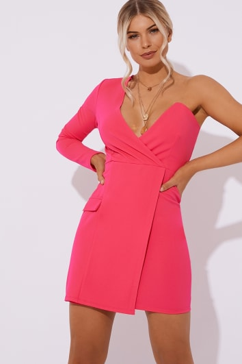 DELLA PINK ONE SHOULDER TUX DRESS