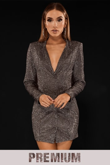 PREMIUM SILVER METALLIC TUXEDO DRESS WITH OPEN BACK