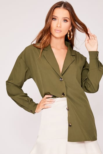MIKALA KHAKI HORN BUTTON SHIRT