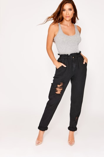 MAYA BLACK DENIM PAPERBAG DISTRESSED MOM JEANS