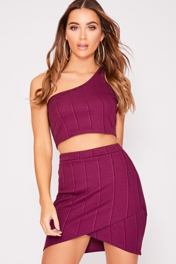 INES PLUM BANDAGE WRAP FRONT MINI SKIRT