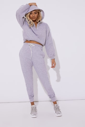 OLIVEEA GREY FLEECE BACK JOGGERS