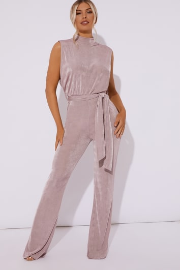 FRANKI MAUVE HIGH NECK TIE WAIST JUMPSUIT