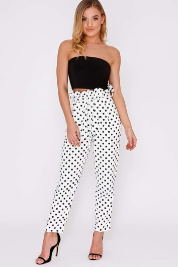 CODIA WHITE POLKA DOT PAPERBAG SKINNY TROUSERS