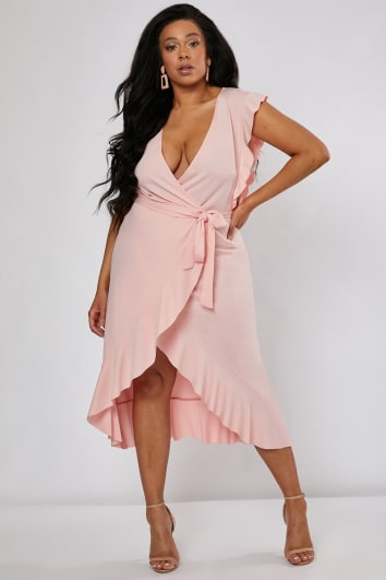 CURVE BILLIE FAIERS BLUSH PINK FRILL WRAP FRONT MIDI DRESS