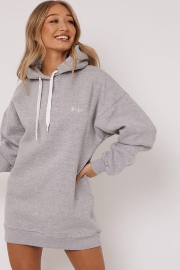 DANI DYER BABE GREY EMBROIDERED OVERSIZED HOODIE DRESS