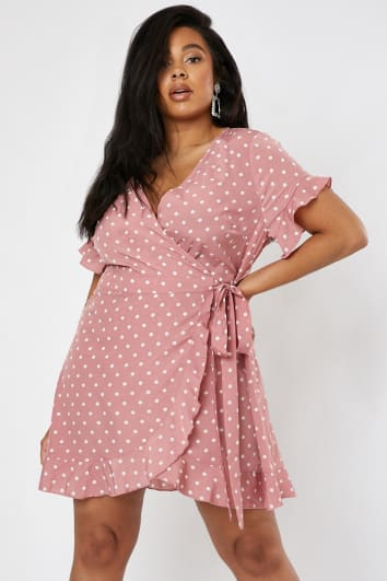 CURVE DANI DYER PINK POLKA DOT WRAP DRESS